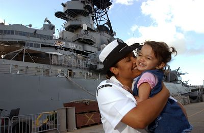 sailor with little girl